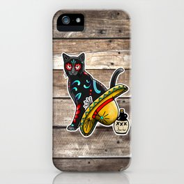 Gato en un Sombrero - Day of the Dead Sugar Skull Cat - Dia de los Muertos Kitty iPhone Case