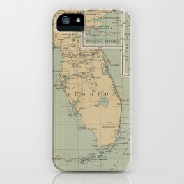 Vintage Lighthouse Map of Florida (1898) iPhone Case