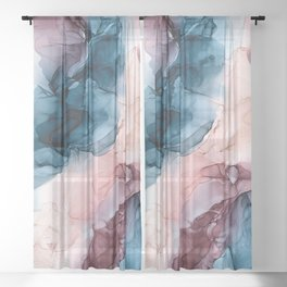 Pastel Plum, Deep Blue, Blush and Gold Abstract Painting Sheer Curtain