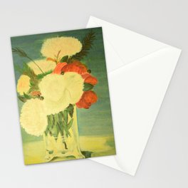 flowers in a glass vase . Oil painting . art Stationery Cards