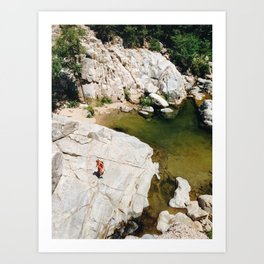Hiking on Rocks Art Print