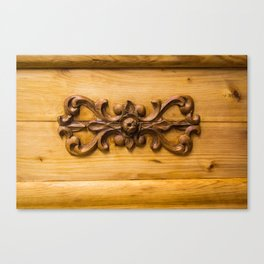 Wooden decor on an old cabinet Canvas Print