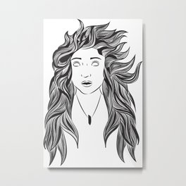 Wind and Hair Metal Print