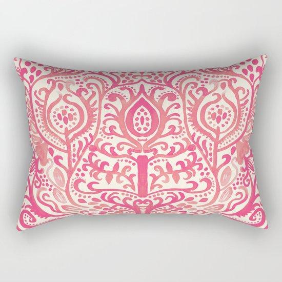 Strawberry and Cream Watercolor Tulip Damask Rectangular Pillow