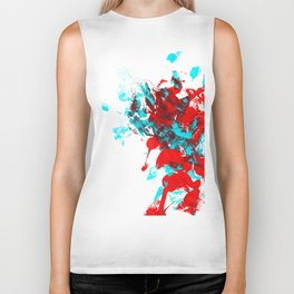 Teal and Red Abstract Biker Tank