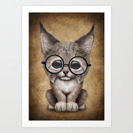 Cute Baby Lynx Cub Wearing Glasses Art Print