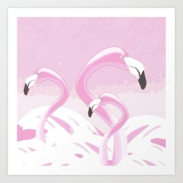 Soft Pink Flamingos Design Art Print
