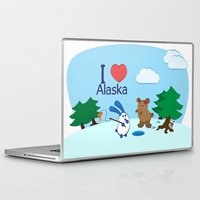 coraline Laptop & iPad Skins featuring Ernest and Coraline | I love Alaska by Hisame Artwork