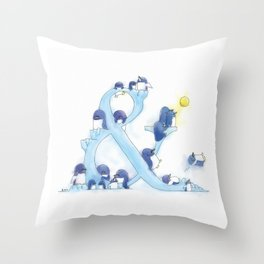 little blue penguin Throw Pillow