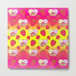 Cute sweet adorable yummy Kawaii pancakes with raspberry syrup, little funny cats and red ripe summer strawberries cartoon sunny yellow pink pattern design Metal Print