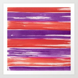 Watercolor Neck Gaiter Watercolor Red and Purple Stripes Neck Gator Art Print