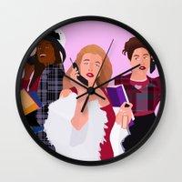 clueless Wall Clocks featuring As If! by Jara Montez