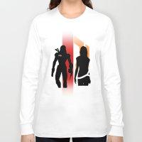 nan lawson Long Sleeve T-shirts featuring Commander Shepard and Miranda Lawson by Pixel Design