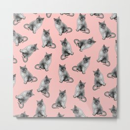 Cute Girly Pink Cats Animal Pattern Illustrations Metal Print