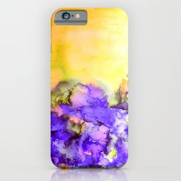 INTO ETERNITY, YELLOW AND LAVENDER PURPLE Colorful Watercolor Painting Abstract Art Floral Landscape iPhone Case