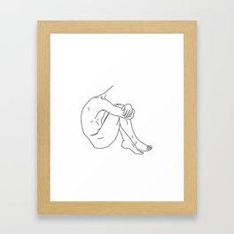 Shy - Black on White Framed Art Print