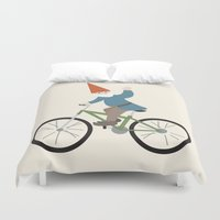 gnome Duvet Covers featuring biker gnome by Britt Whitaker Design