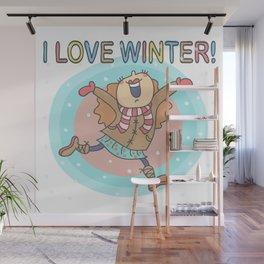 I Love Winter Girl Wall Mural