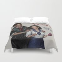 bioshock infinite Duvet Covers featuring Bioshock Infinite Vigor Poster by Camila Vielmond