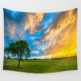 Fire and Ice - Lone Tree Under Colorful Storm Clouds at Sunset in Texas Wall Tapestry