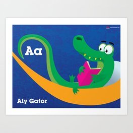 A is for ALY the GATOR. Art Print