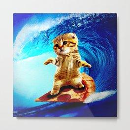 Pizza Surfing Cat Metal Print