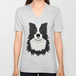 Black Border Collie Unisex V-Neck