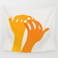 hands Wall Tapestries featuring hands by alex eben meyer