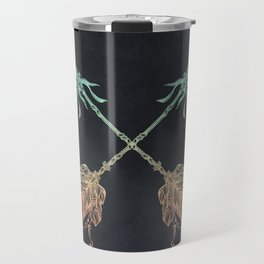 Arrows Turquoise Coral on Navy Travel Mug