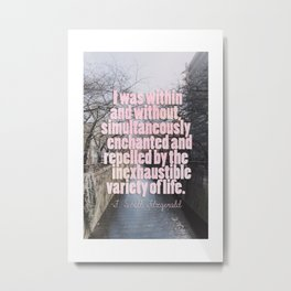 I was within and without, simultaneously enchanted and repelled by the inexhaustible variety of life Metal Print