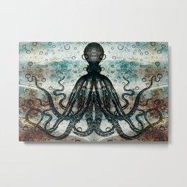Octopus In Stormy Water Metal Print