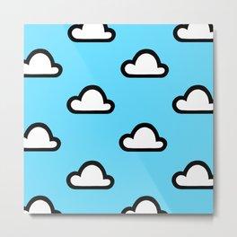 Cartoon Clouds Pattern Metal Print