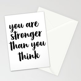 You Are Stronger Than You Think, Motivational Quote, Inspirational Quote, Typographic Art, Inspiring Stationery Cards