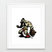 street fighter Framed Art Prints featuring Bear Wrestler - Street Fighter by Peter Forsman