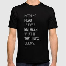 Lines / First Version / Mono Black MEDIUM Mens Fitted Tee