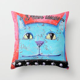 I have issues cat Throw Pillow