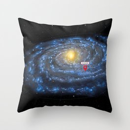 You are here: Milky Way map, Earth Throw Pillow