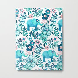 Dusty Pink, White and Teal Elephant and Floral Watercolor Pattern Metal Print