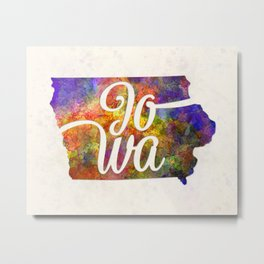Iowa US State in watercolor text cut out Metal Print
