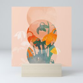 floral abstract bloom shapes Mini Art Print