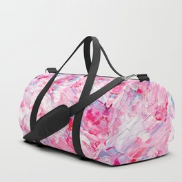 Pink white brushstrokes candy acrylic paint Duffle Bag