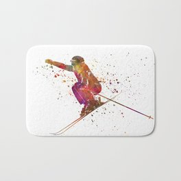 Woman skier skiing jumping 03 in watercolor Bath Mat