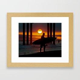 Huntington Beach Pier / Surfer Sunset Framed Art Print