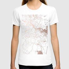 Amsterdam White on Rosegold Street Map T-shirt
