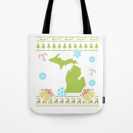 Michigan Christmas Ugly Shirt Tote Bag