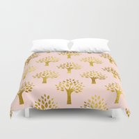 gold foil Duvet Covers featuring Pink Gold Foil 02 by Aloke Design