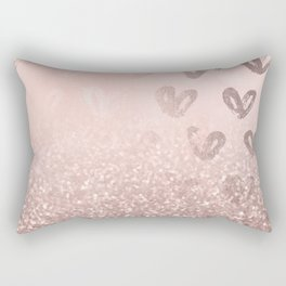Rose Gold Sparkles on Pretty Blush Pink with Hearts Rectangular Pillow