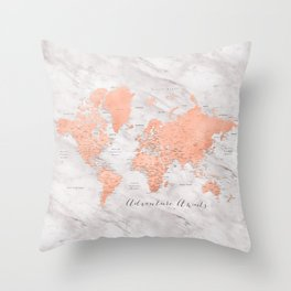 """Adventure awaits world map in rose gold and marble, """"Janine"""" Throw Pillow"""