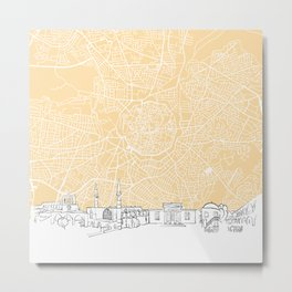 Nicosia Cyprus Skyline Map Metal Print
