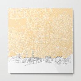 Nicosia Cyprus Skyline Map Metal Print